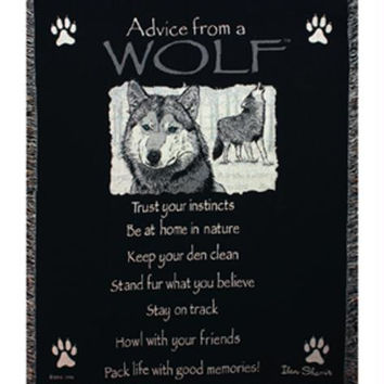 Advice From A Wolf Throw Blanket