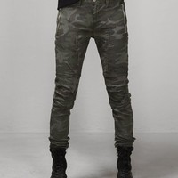 Mens Multi Seamed Camouflage Skinny Biker Jeans at Fabrixquare