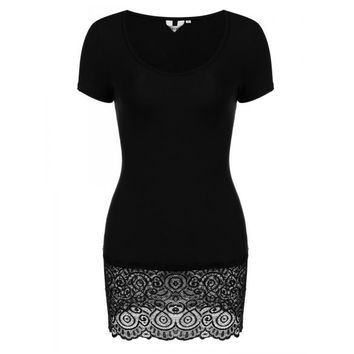 Floral Lace Trim Slim Fit O-Neck Short Sleeve Tunics