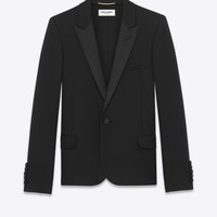 iconic le smoking cropped jacket in black textured wool