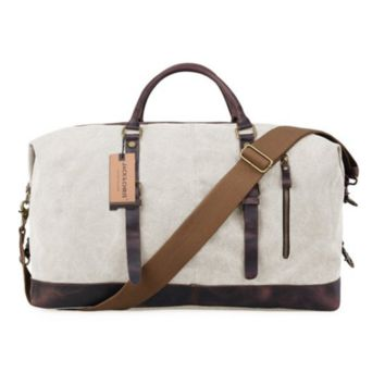 Travel Weekender Canvas Leather Duffel Bag