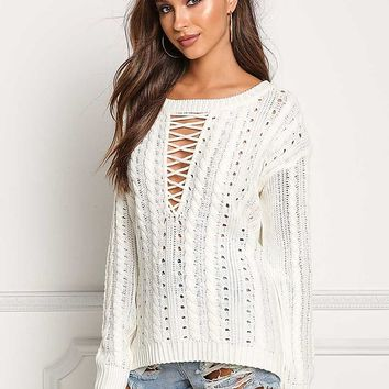 Ivory Cable Knit Plunge Cross Strap Sweater Top