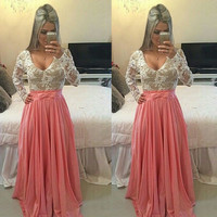 Korean Style Lady Women's New Fashion Long Sleeve O-neck Sexy Long Prom Dress