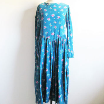 Vintage 1980s LAURA ASHLEY Floral Dress Blue-Green Corduroy Cotton Grunge Dress 10US