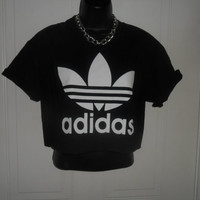 unisex customised adidas  cropped t shirt sz small