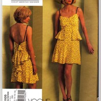 Vogue pattern 1105 Designer Anna Sui BoHo Flirty Summer Dress