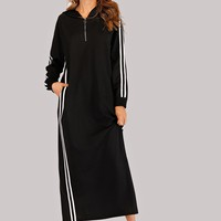Striped Tape Zip Up Hoodie Sweatshirt Dress
