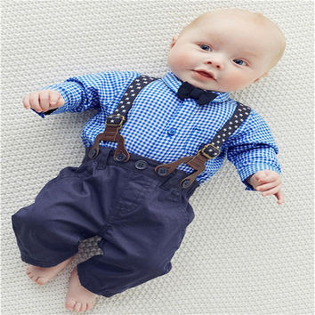 New Baby Boy Spring  Gentleman Plaid Clothing sets Suit  Newborn Baby Bow Tie Shirt + Suspender Trousers  formal party