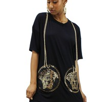 Medusa Round Neck Drop Shoulder Short Sleeves Chain Hanging Mini Dress