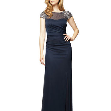 Alex Evenings Plus Illusion Yoke Beaded Gown
