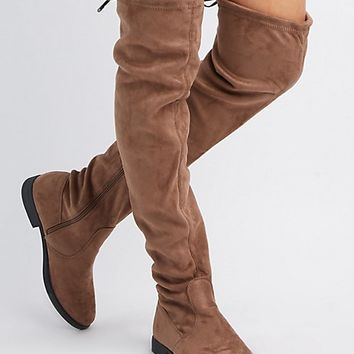Faux Suede Tie-Back Over-The-Knee Boots | Charlotte Russe