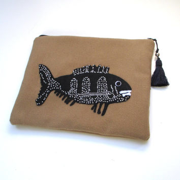 Beige wool pouch bag handmade  with a black beaded fish , Cosmetic bag