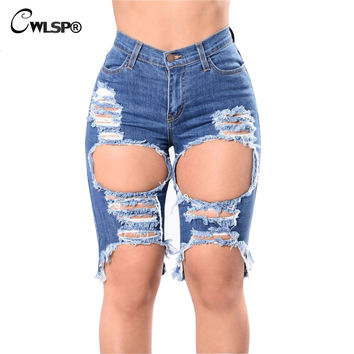 Mid Waist Hole Keen Length Jeans Woman 2017 new Bleached Scratched Ripped Jeans For Women Casual Denim Shorts Femme QZ2144