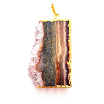 Amethyst Stalactite Slice Pendant / Gold Plated / Jewelry Making Supply / Crystal Healing / Mothers Day Gift Idea / Gemstone Craft/ Necklace