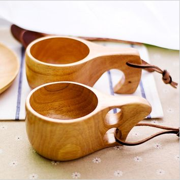 Bowl Marmita Wooden Oak Cup Single Double-hole Xicara Tourism Carrying Kitchen Dining Bar Drinkware Teacups Carabiner 1 Piece
