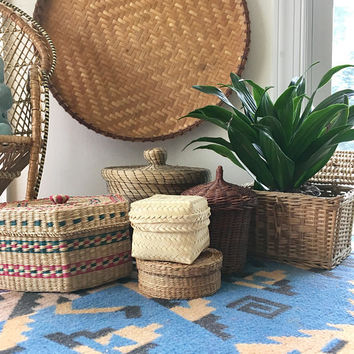 Collection of Woven Storage Baskets, Set of 7 Wicker and Hyacinth Baskets with Lid