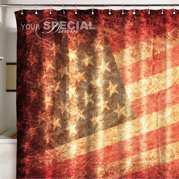Bath Shower Curtain USA flag under united state of America