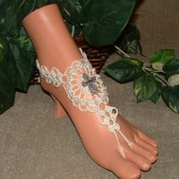 Crochet Lacy Looking Cross Barefoot Sandals, Wedding Bridal Accessories, Beach, Foot, Jewelry, Shoes, High Fashion, Beautiful