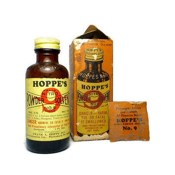 Vintage Hoppe's Nitro Powder Solvent No 9 with Box, 1/2 Full of Product, Collectible Brown Glass Bottle, Gun Cleaner