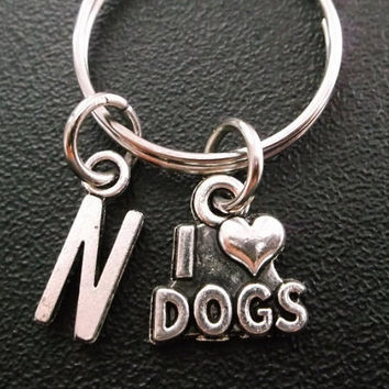 I Love Dogs charm keyring, keychain, bag charm, purse charm, monogram personalized custom gifts under 10 item No.279