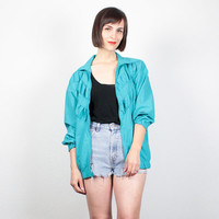 Vintage 1980s Teal Green Windbreaker Jacket Pleated 80s Gathered Chevron Stripe Bomber Jacket Track Jacket Slouchy Athletic Sporty M  Medium