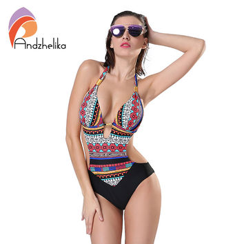 Andzhelika 2017 New One Piece Swimsuit Women Summer Bodysuit Sexy Brazilian Halter Swimwear Vintage Print Swim Suit Bathing Suit