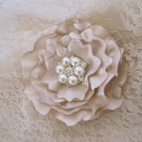Stunning Light Champagne Satin Wedding Flower Hair Clip Bride, Mother of the Bride, Bridesmaids Prom with Pearl and Rhinestone Accent