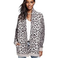 Jacquard Animal Print Cardigan