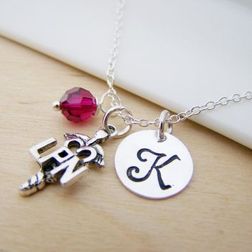 LPN Nurse Caduceus Medical Charm Stamped Initial Swarovski Crystal Birthstone Sterling Silver Necklace / Gift for Her
