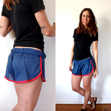70's 80's Vintage Red & Blue Running Shorts