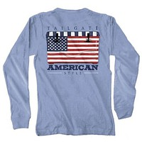 USA Flag Cooler Long Sleeve Tee in Washed Denim by Live Oak