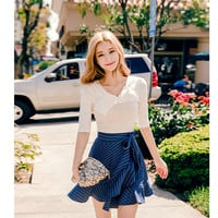Stripe frilled wrap skirt - I know you wanna kiss me. Thank you for visiting CHUU.