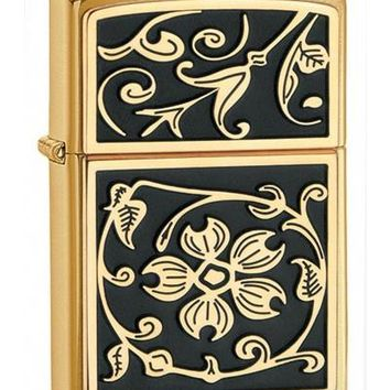 Zippo 20903 Gold Floral Flush Emblem Brushed Brass Lighter