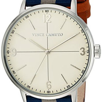 Vince Camuto Men's VC/1088BLSV Blue and Grey Striped Nylon Strap Watch