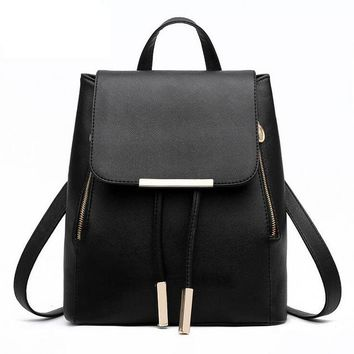 Faux Leather Backpack w/ Metal Accents