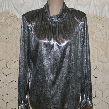 90s Silver Metallic Top Dressy Tops Mock Turtleneck Long Sleeve Blouse Cocktail Blouse Disco Shirt Large XL Plus Size Women Vintage Clothing