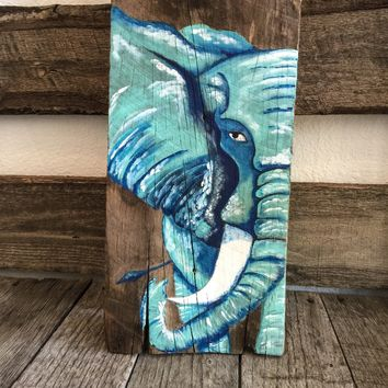 Abstract Elephant Painting on Reclaimed Barnwood