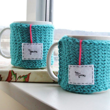 "Valentine's Day Knitted Snug Mug Cozy Pair of 2 in Robin Egg Blue with Felt Teabag Tag, ""Mine"" and ""Yours"""