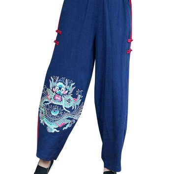 Chinese Style Elastic Waist Embroidery Stitching Color Lantern Pants