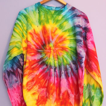 Bright Rainbow Tie-Dye Crewneck Sweatshirt