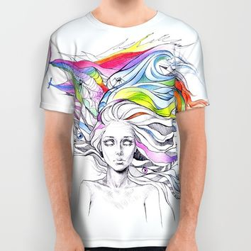 Dreams are made winding through her hair All Over Print Shirt by EDrawings38