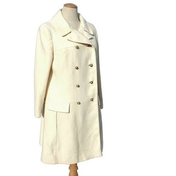Vintage 60s Wool Coat Ivory Winter White Double by mysweetiepiepie
