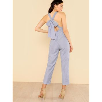 Blue Bow Tie Back Sleeveless Striped Jumpsuit