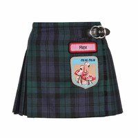 Plaid wool miniskirt with patches