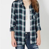 Navy & Green Plaid Button Down
