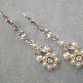 Bridal Earrings, Pearl and Rhinestone Wedding Earrings, Long Earrings with Pearl Drop, Wedding Jewelry, Swarovski Crystal