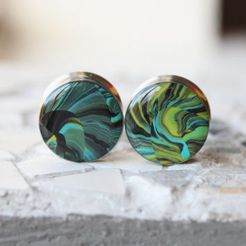 "7/8"" Ear Gauges, Polymer Clay OOAK Art Plugs, One of a Kind Ear Plugs, Double Flare - size 7/8"" (22mm)"