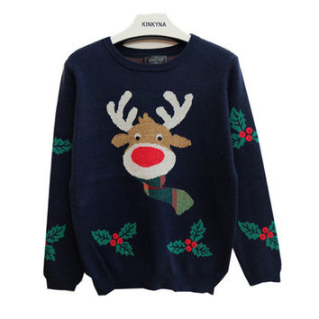 Royal Blue Reindeer Leaf Print Christmas Sweater
