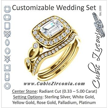 CZ Wedding Set, featuring The Madison engagement ring (Customizable Radiant Cut Design with Halo and Bezel-Accented Infinity-inspired Split Band)