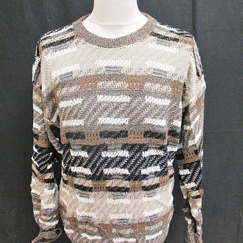 Vintage 80s Jantzen Brown Brick Work Indie Sweater Jumper L